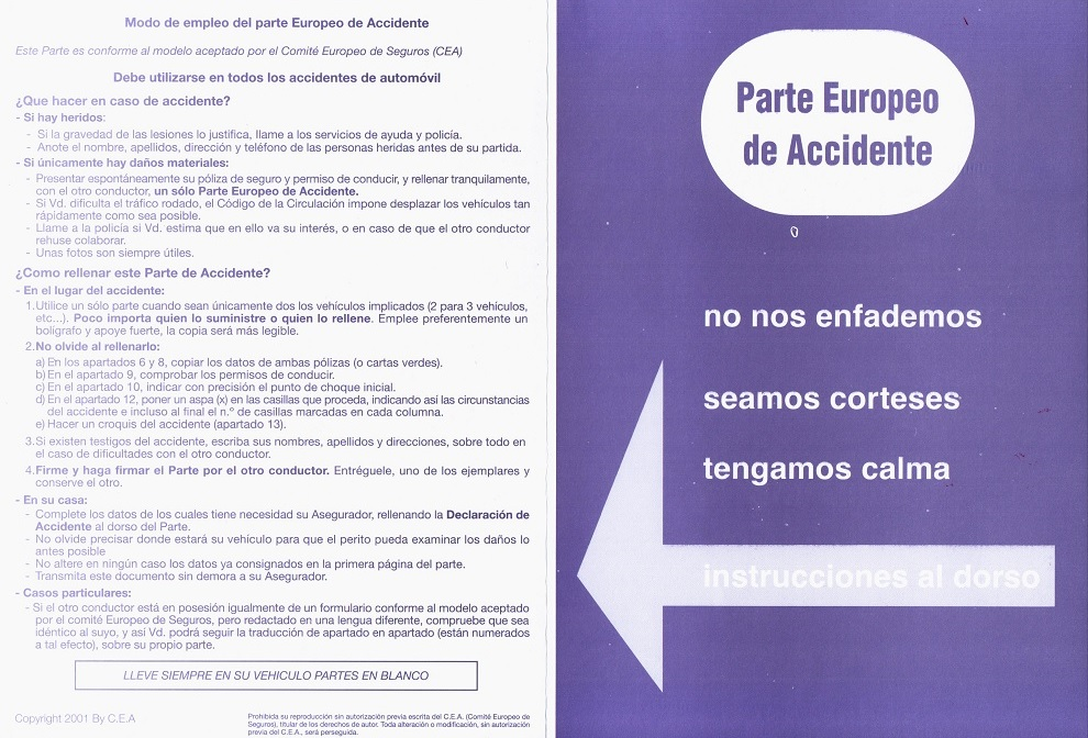 Parte Europeo de Declaración de Accidentes